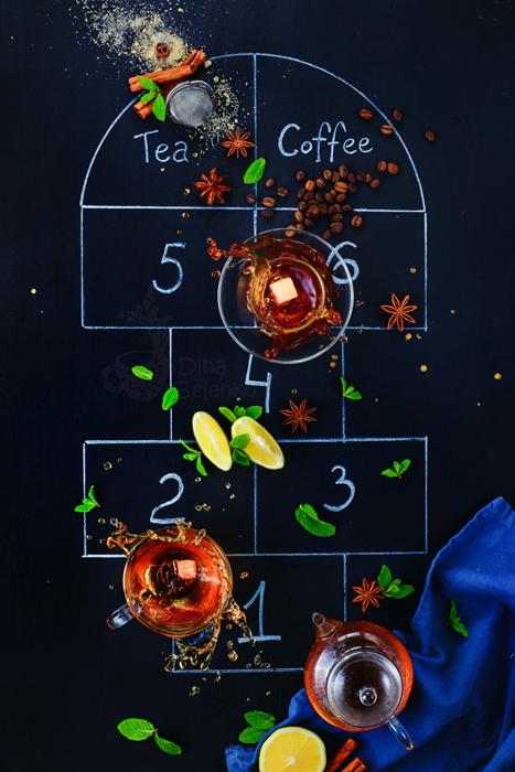 chụp trà và cafe